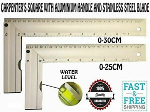 CARPENTER'S SQUARE WITH ALUMINIUM HANDLE AND STAINLESS STEEL BLADE WITH LEVEL