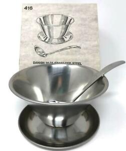 Vtg Danish Stainless Steel Sauce Bowl w/attached Under-plate & Ladle in Box EUC