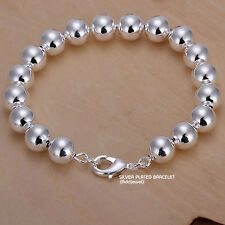 925 Silver Plated Ball Beads Chain Bracelet 7.5 Inches Sterling Women Jewelry