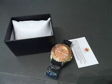 Louis Richard 9355 Richmond Mens Gold Tone Stainless / Black Dial & Strap Watch