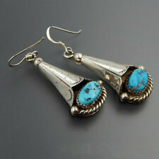 Drop Dangle Hooks Earrings Wholesale Vintage Boho 925 Silver Turquoise Gemstone