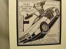 1981 De Lorean Auto Pen Ink Hand Drawn  Poster Automotive Museum
