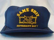 Vintage Trucker Hat Cap Snapback Blue Euc