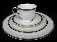 LENOX PEARLESCENCE PLATINUM PLACE SETTING DINNER SALAD PLATE CUP SAUCER