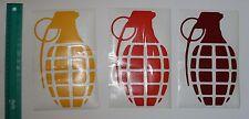 "New Die Cut GRENADE Sticker WINDOW DECAL Red, Orange or Yellow 9' x 5.5"""