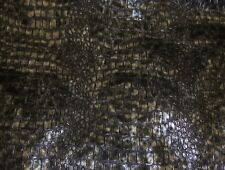 """Vinyl Fabric Faux Leather 54"""" Wide Charcoal Metallic Embossed Crocodile sold BTY"""