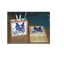 Amy Brown Fairy Art Ceramic Tile Desk Set Believe Maple Wood Pen & Note Holder