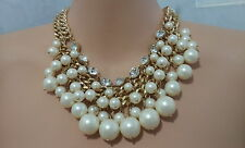 Faux Pearl & Rhinestone Crystal Multi layer Choker Link Chain Fashion Necklace