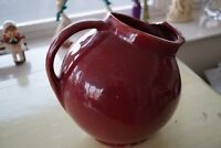 American Pottery Ball pitcher with Ice Lip in Glossy Burgundy 1940's Unmarked