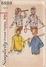 Vintage Girls' & Boys' Hooded Jacket Sewing Pattern S5523 Size 6
