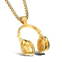 Hip Hop DJ Wireless Headphone Design Gold Men Stainless Steel Pendant Necklace