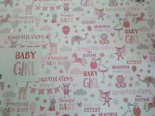 WHITE/PINK/GREY NEW BABY GIRL WORDS/ANIMALS WRAPPING PAPER 2 SHEETS+1 GIFT TAG