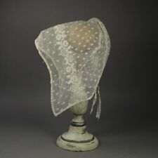 Early 19th Century Regency Lace Cap Bonnet Embroidered Net Ground English 1820