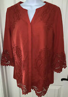 Chico's Cut Out Detail Tunic Size 1 (MEDIUM) Paprika Red 100% Cotton EUC