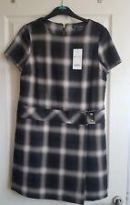 BLACK brown short sleeve pinafore dress. size 14 petite. Next BNWT