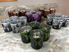 Halloween Glass Candle Holders 12 Tealights Purple, White, Orange Set Of 4. New.