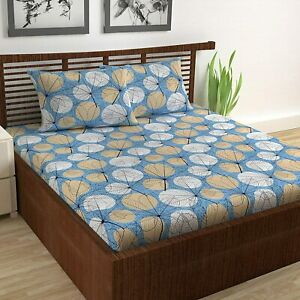 """Blue & Beige Cotton AbstractPrinted 87x100"""" Double BedSheet,18x28"""" 2Pillow Cover"""