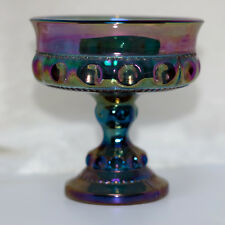 Blue Kings Crown Thumbprint Carnival Glass Small Comport by Indiana Glass
