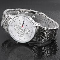 NORTH Herren Edelstahl Sport Uhr Armbanduhr Date Quarz Luxus Business Uhren