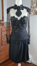 Vtg Ruben Panis Jarin Couture Black Silk Beaded Illusuion Lace Cocktail Dress Xs
