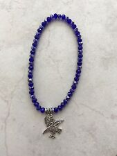 Anklet Beaded 6mm Blue Crystsl Beads Silver Tone Lucky Eagle Charm Boho Wings
