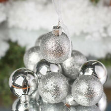 "Unido Box 24 Pack Christmas Ball Ornaments SILVER  3"" in Glitter Matte Glaze Set"