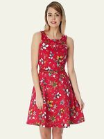 BNWT Yumi Womens sleeveless belted Casual DARK PINK SKATER DRESS 12 FLORAL