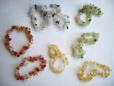 Lot of 8 Genuine Semi-Precious Stone Chip Elastic Bracelets