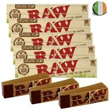 5 x Raw Organic Hemp King Size Slim Natural Rolling Papers 110mm & 3 Raw Tips