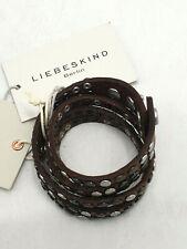 Liebeskind Armband Wickelband Leder Nieten dunkel braun