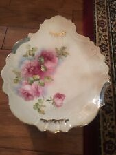 Antique Limoges China Cake Plate W Handle Roses Gold Edge