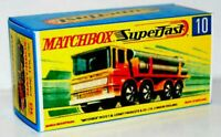 Matchbox Lesney Superfast No 10 Pipe Truck   Repro G style Empty Box