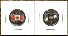 Canada 2015 Flag 50th Anniversary Colourized & Noncolourized Quarter Set!!