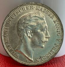 GERMANY- Prussia 1911 A Silver 3 Mark UNC