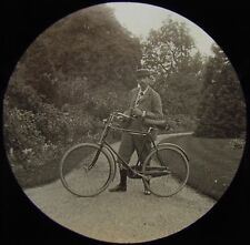 RARE Glass Magic Lantern Slide VICTORIAN GENT WITH BICYCLE & PIPE C1890 PHOTO