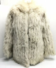 Jacques Saint Laurent Natural Blue Fox Fur Coat Size Small