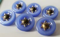 Vintage Set of 6 Lucite Plastic Blue Buttons with Metal flower hardware