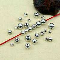 100/50Pcs Stainless Steel Silver Big Hole Round Spacer Beads DIY JewelryTOCA