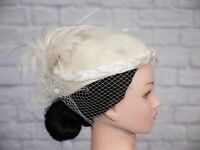 Vintage Hat Ivory Pill Box Veil Feather Bridal 1980s 1950s Victorian Goodwood