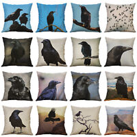 Cotton Linen Pillow Case Cover Crow Throw Sofa Car Cushion Cover Home Decor New