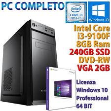 PC COMPUTER FISSO DESKTOP WINDOWS 10 INTEL QUAD CORE i3-9100F 8GB 240GB GT710
