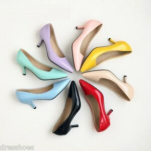 Womens Synthetic Leather Party Pumps 6cm Mid Heel Pointed Toe Shoes US Size 2~14