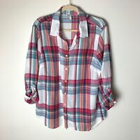 Talbots Women's Shirt Size XL Top Plaid Cotton 3/4 Roll Tab Sleeves Casual Pink