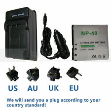 Battery + charger for HP V5560U V5060H CANP-40 CA NP-40  Camera NP-40DBA DLCS40
