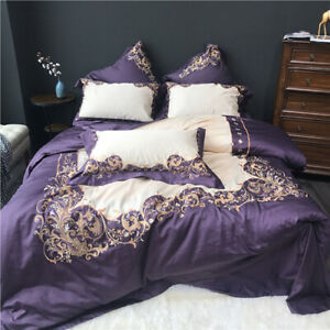Luxury Egypt Cotton Purple Elegance Bedding Set Embroidery Silky Cover Sheet New