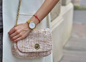 ZARA PINK TWEED  BAG WITH GOLDEN CHAIN