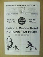 Isthmian League 1966/67- TOOTING & MITCHAM UNITED v METROPOLITAN POLICE,17 Aug