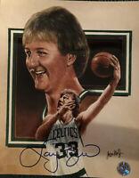 Larry Bird Signed 8x10 Photo W/ Bird Hologram Boston Celtics NBA HOF Lithograph