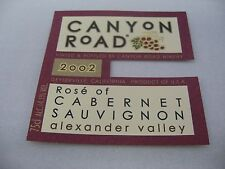 Wine Label: CANYON ROAD 2002 Rose of Cabernet Sauvignon Alexander Valley CA