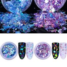 2Boxes Nail Glitter Sequins Fluorescent Glass Paper Nail Art Paillette Blue DIY